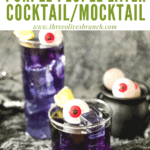 Pin image of Purple People Eater Halloween Cocktails with title at top