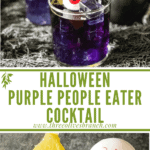 Long pin for Purple People Eater Halloween Cocktail (+Mocktail) with title