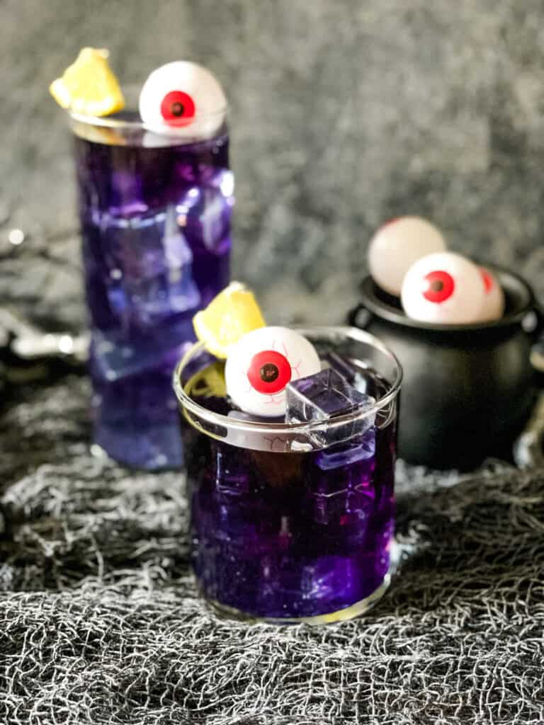 The Purple People Eater Halloween Cocktails (+Mocktail) ready to serve