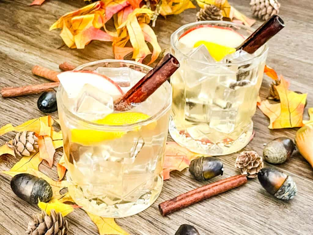Two fall drinks with cinnamon and acorns around them