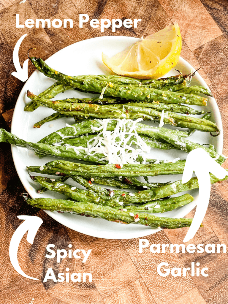 All Air Fryer Green Beans (3 Ways) on a small white plate with flavor labels