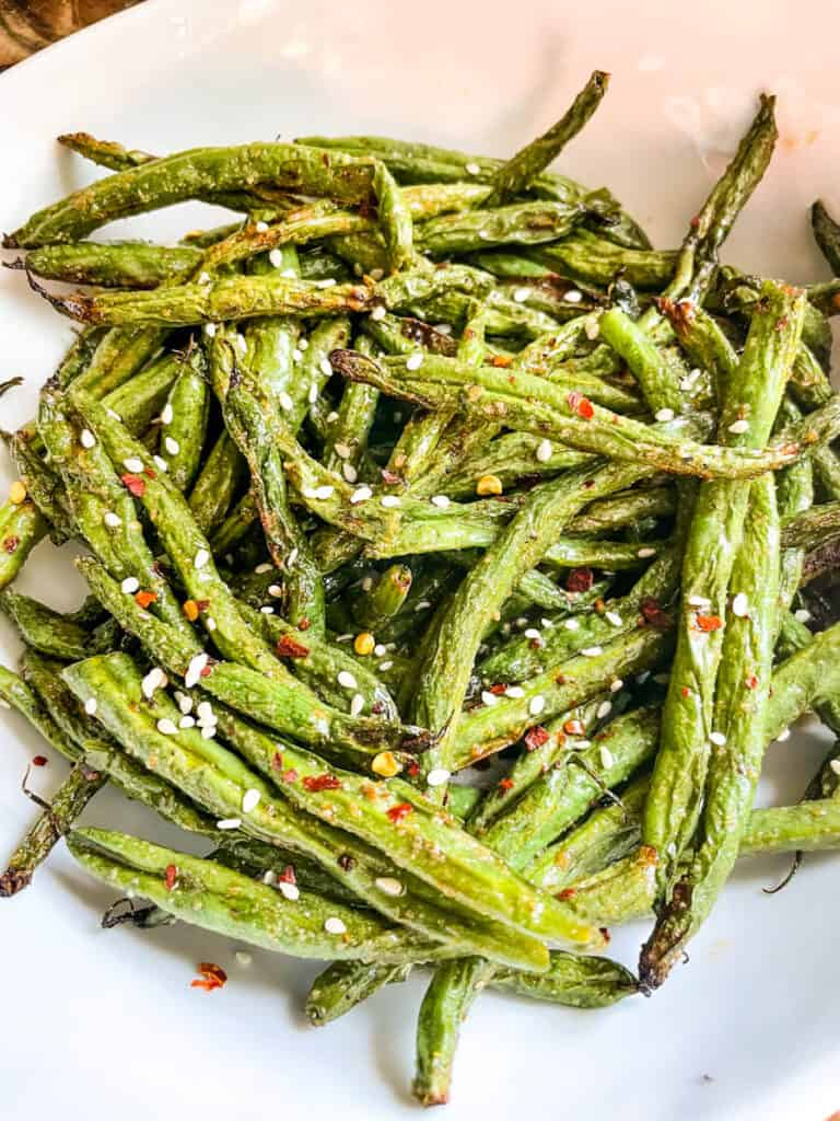 Spicy Asian flavored Air Fried Green Beans in a bowl