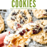 Pin image inside of Oatmeal Craisin Cookie with title at top