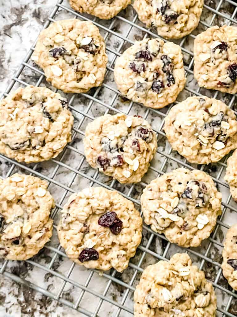 Oatmeal Craisin Cookies on a cooling rack