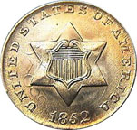 Three Cent Silver Coin - Front - 1852