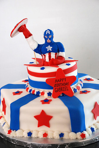 "Captain America tries the classic ""Jump out of a cake"" stripper routine."