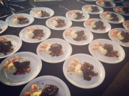 Plated entrées at a catering event.
