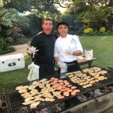 Grillin'and chillin' at a catering event.