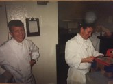 Chef Carroll and Chef Cody in the kitchen.