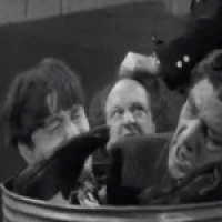 Of Cash and Hash starring the Three Stooges, Christine McIntyre, Kenneth MacDonald, Vernon Dent