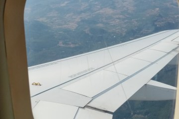 On the way out of Zurich to Rome, the view from the plane window over the wing