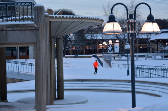 Morning jog by the fountain. Photo by Mike Hartley