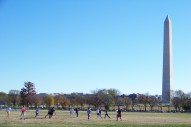 Football and Monument Photo by Mike Hartley