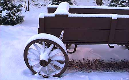 Old carriage that used to be by the Woodstock Inn. Photo by Mike Hartley