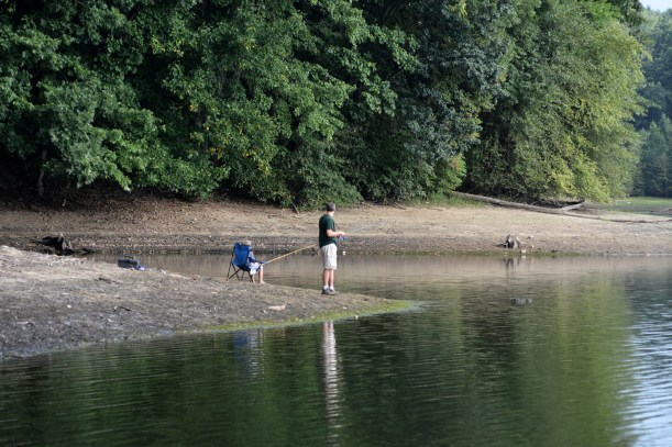 Father Son fishing on a holiday weekend. Photo by Mike Hartley