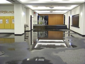 One of the many floods in the old building. Photo by Mike Hartley