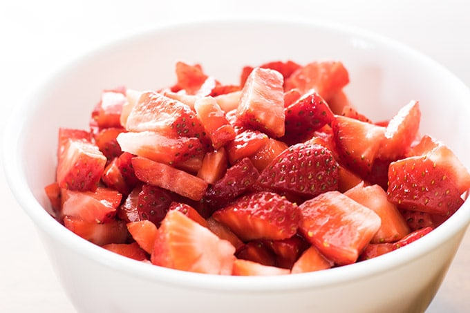 3 cups of chopped strawberries in a bowl