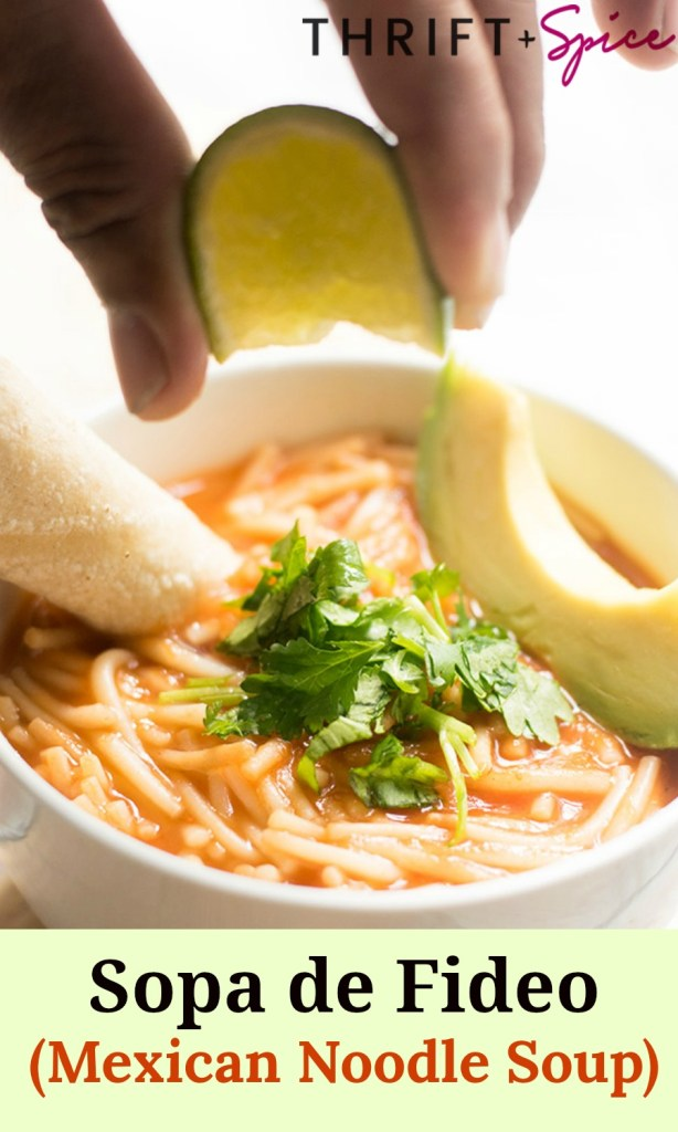 Sopa de Fideo is a yummy Mexican noodle soup. This soup is perfect for lunch or as a light dinner. It's also makes a cheap meal and is ready in 30 minutes!