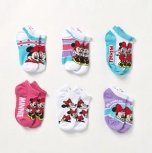 Girls 6 Pack Minnie No Show Socks