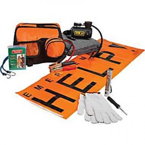 Roadside Emergency Kit with Air Compressor, Jumper Cables, LED Flashlight, Gloves, Poncho, Blanket and Carry Case
