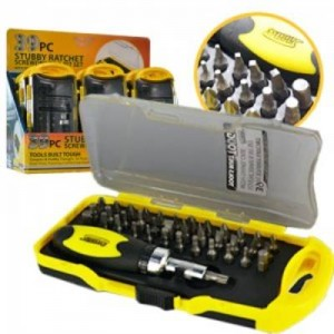 Tool Solutions 39PC Stubby Ratchet Screwdriver & Bit Set