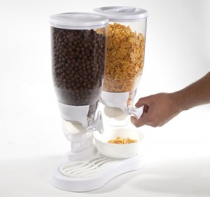 Dual-Container Cereal & Dry Food Dispenser w Spill Tray & 28 Ounce Capacity – Available in Black or White ONLY $14.99