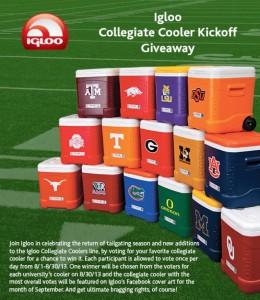 Igloo Collegiate Cooler Kickoff Giveaway