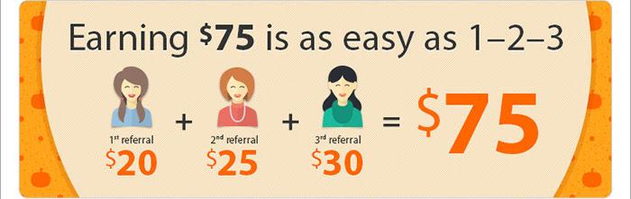 Refer 3 Friends & Earn $75
