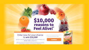 $10,000 Feel Alive! Sweepstakes & Instant Win Game