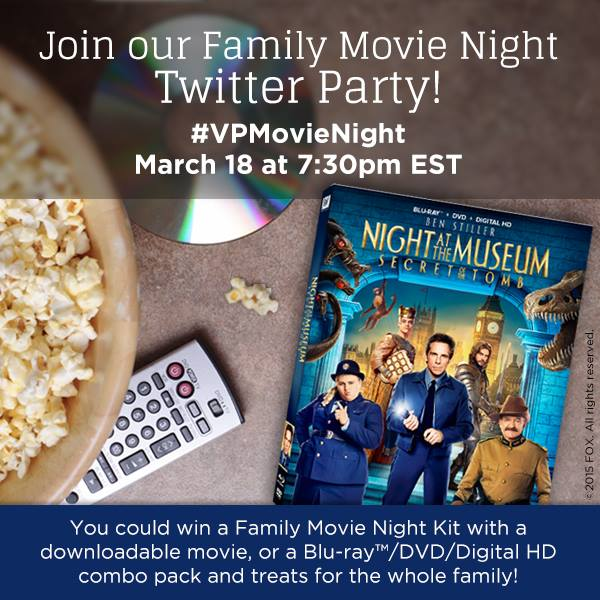 """""""Night at the Museum: Secret of the Tomb"""" #VPMovieNight Pre-Twitter Party Giveaway"""