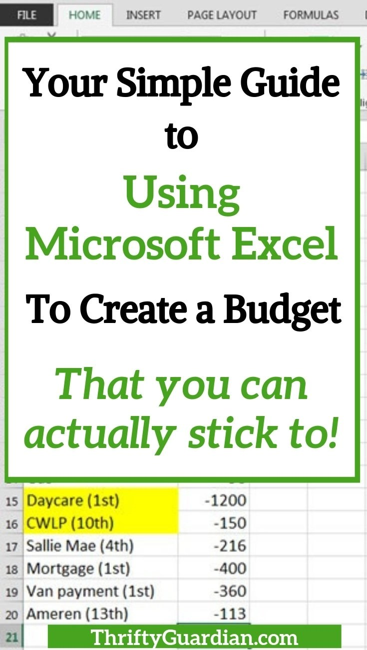 how to create a budget with Microsoft Excel