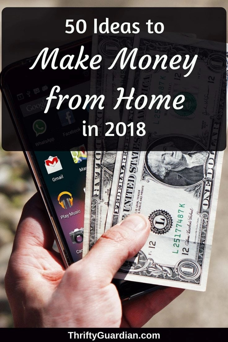 Make money from home in 2018! 50 ideas from Amber Temerity on how to make money online and mostly from the comfort of your own home.  #wahm #workfromhome #makemoneyonline #ibotta #ebates