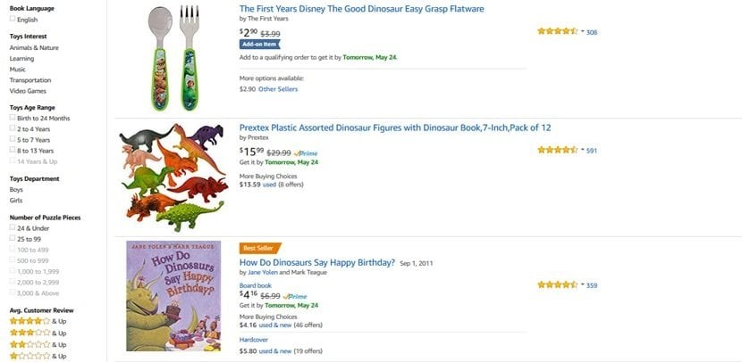 screenshot amazon discounts on dinosaurs
