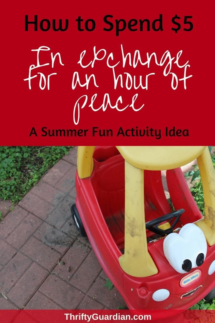 Looking for a summer fun activity idea for your kid or toddler? Dollar store DIY - Pick up these five things for $5 from the dollar store and entertain your children for hours while you relax in the summer sun. Peace and quiet doesn't have to come with a hefty price tag. #summerfun #kidactivity #summeractivity #frugal #thriftyguardian #dollarstore #dollarstorecraft #activityfortoddlers #familyfun