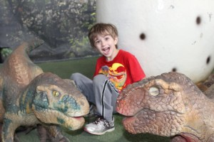 blonde boy two baby dinosaurs jurassic quest