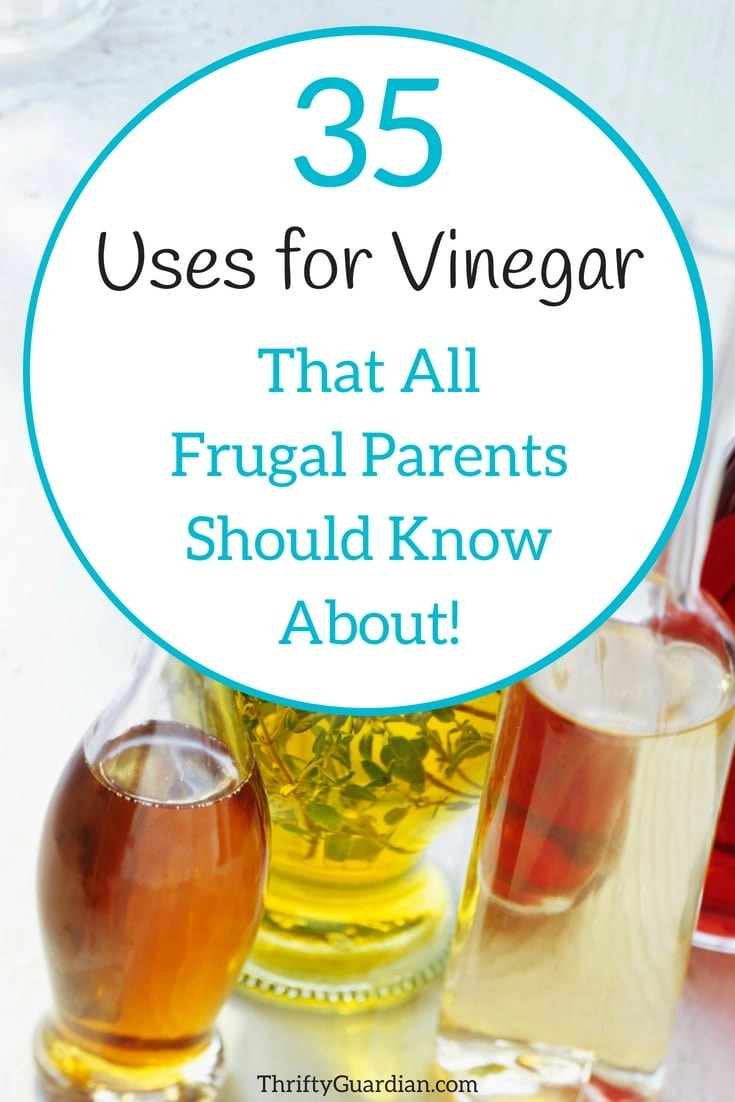 You won't want to miss these 35 uses for vinegar that every frugal parent should know about! Save time and money by making vinegar a staple in your household. Make disinfectant, DIY vinegar, freshen laundry, make your own fruit wash, how to pickle veggies at home, make cottage cheese, fruit fly trap, unclog drains, and many other ideas for using vinegar! #diy #frugal #vinegar