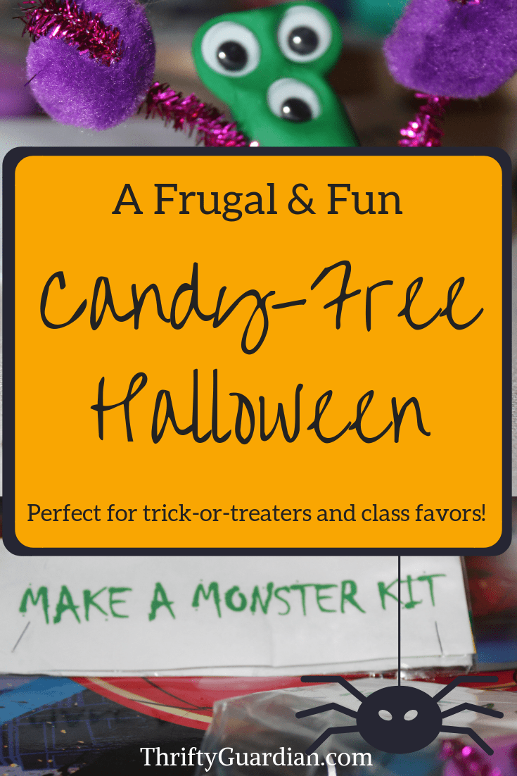 Skip the candy this year and give away monster kits instead! DIY idea for trick-or-treaters that doesn't include food, great for The Teal Pumpkin Project! Candy-free trick-or-treat idea for Halloween, great for class or party favors. Fun Halloween project to do with your kids.