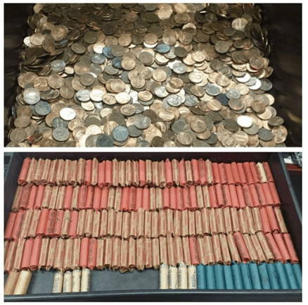 loose change above a photo of rolled quarters in red paper