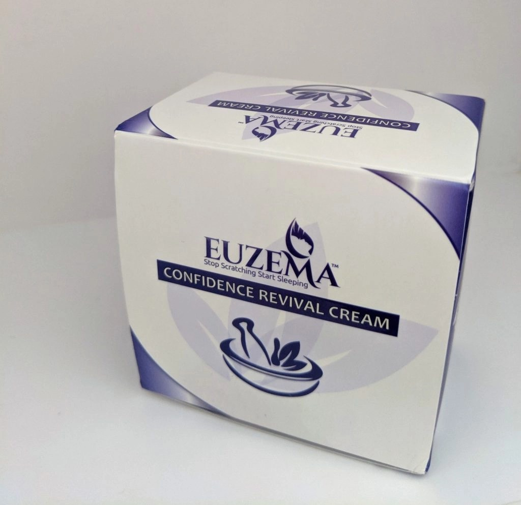 Purple and white box with Euzema written on it