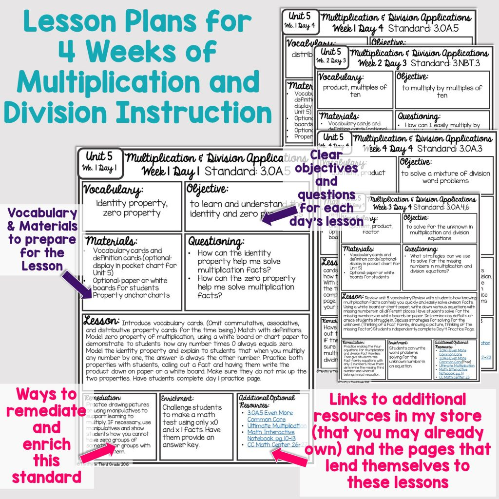 3rd Grade Guided Math Unit 5 Multiplication And Division