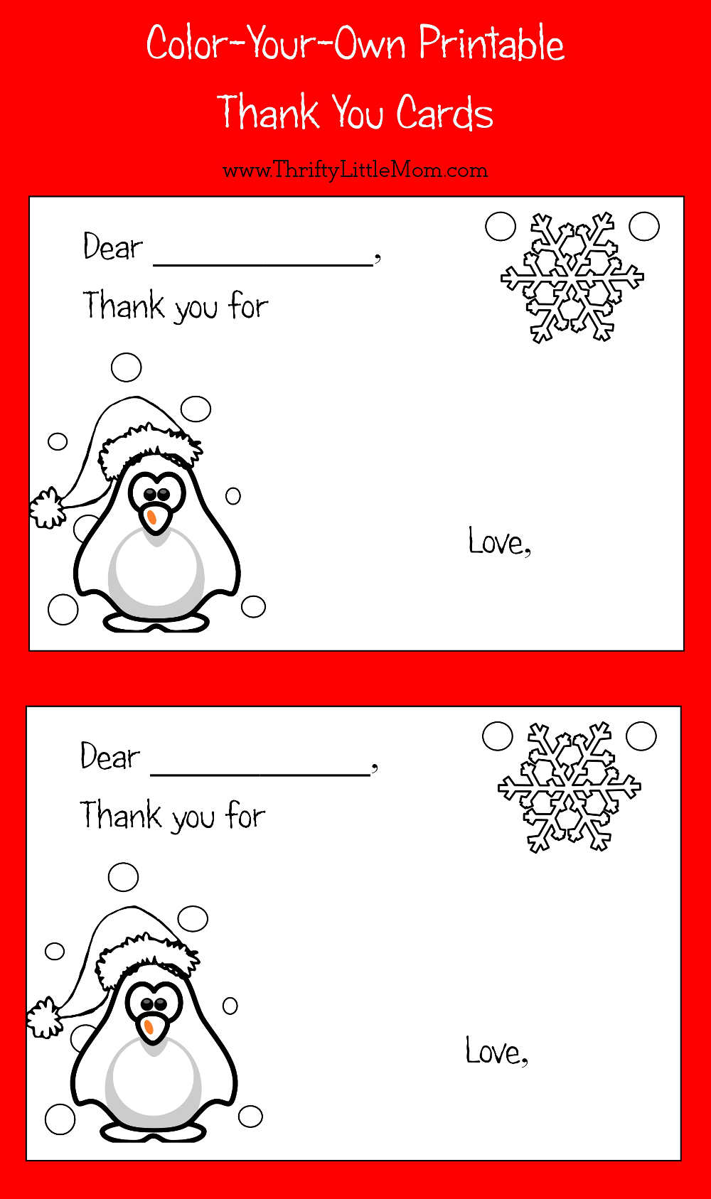 color your own printable thank you cards for kids thrifty little mom