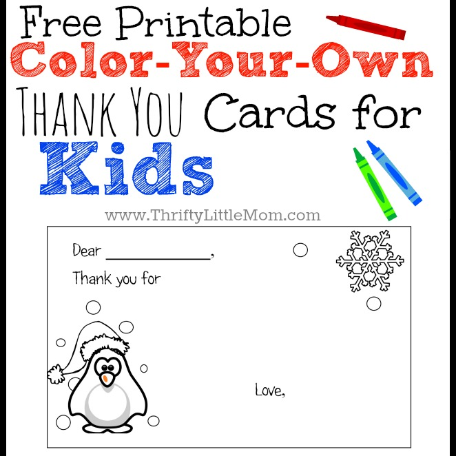 Kids Thank You Card Color Your Own