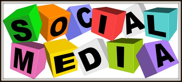 An illustration of colorful social media icon