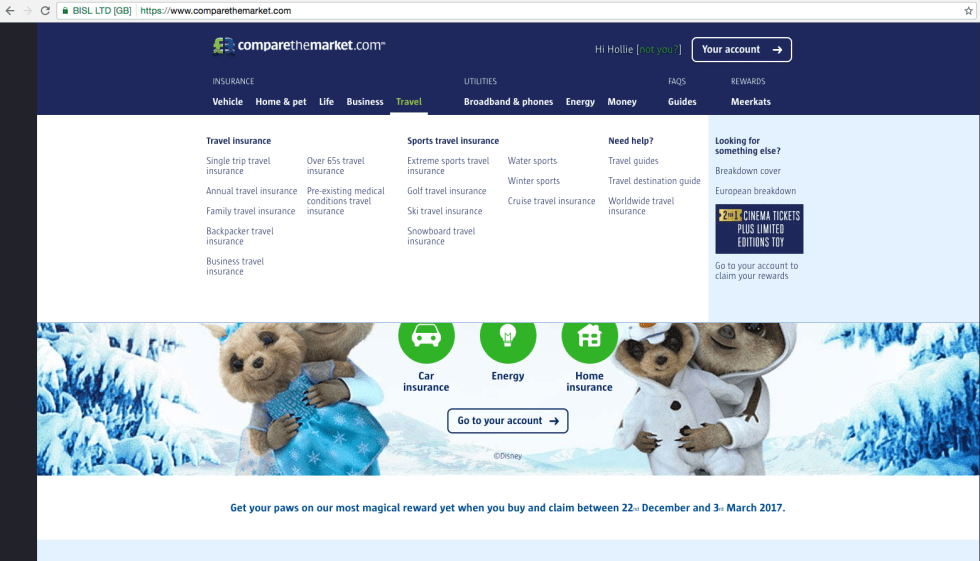 how to get 2 for 1 cinema tickets for a year for less screen shot of compare the meerkat website