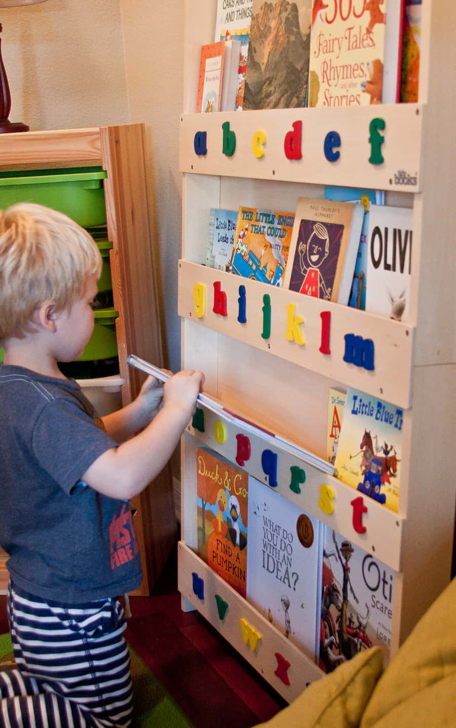 toddler well up i bookshelf colourful bold guess bedroom is growing this ikea makeover bright