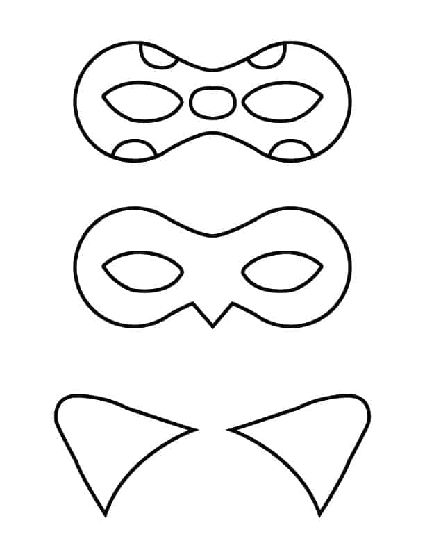 Diy miraculous tales of ladybug and cat noir masks thrifty nifty click here for the full size colored masks printable maxwellsz