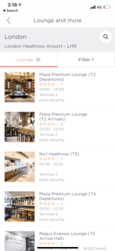 Browse all available lounges