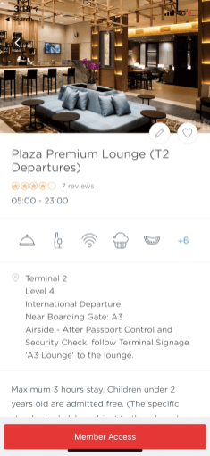 View photos, amenities, hours, access instructions, and even reviews for each available lounge.