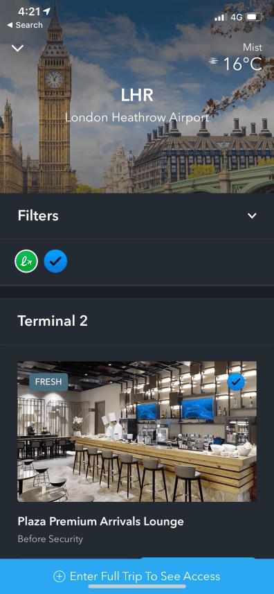 LoungeBuddy Airport Screenshot