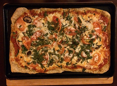 thrifty sustainability make Pizza do it yourself DIY pizza square toppings save money on takeaway food cheap